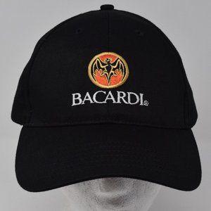 Bacardi Bat Black Baseball Cap Embroidered Cotton